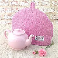 Harris tweed tea cosy pink cream herringbone