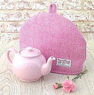 Harris tweed tea cosy pink cream herringbone