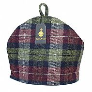 Harris tweed tea cosy wine red olive green