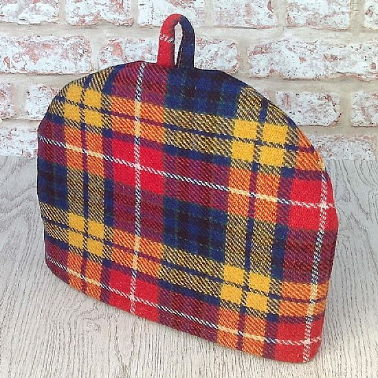 bright tartan plaid harris tweed tea cosy by roses workshop
