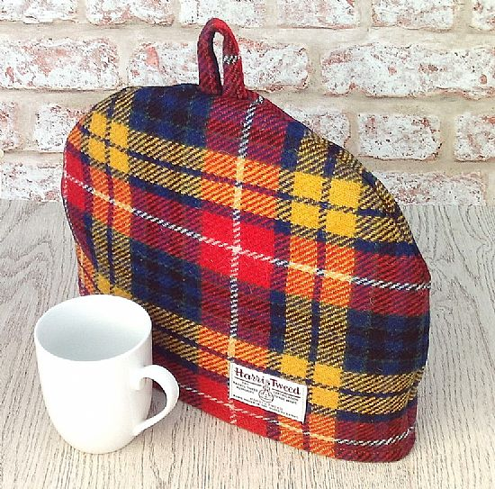 harris tweed tea cosy in bright tartan by roses workshop