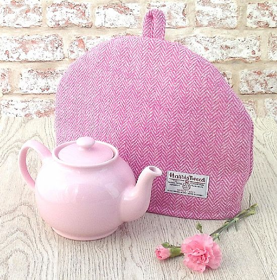 harris tweed tea cosy in pink and cream herringbone by roses workshop