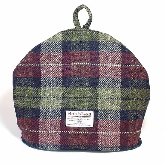 harris tweed tea cosy in wine red and olive green plaid by roses workshop