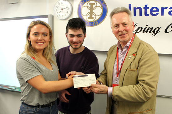 pdc uk accepts �500 donation cheque from the piggott interact club