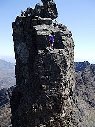 abseiling from the inaccessible pinnacle, cuillin