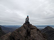 Di on the summit cairn of Sgurr Dubh an da Bheinn.