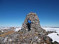 Ian at the summit cairn of A'Chralaig