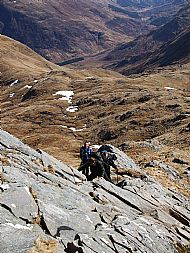starting the scrambling on the forcan ridge