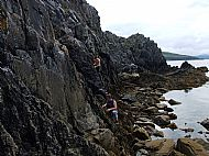 Sea level traversing at Camas Malag, Skye.