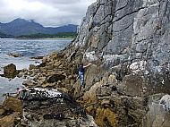 Sea level traversing at Camas Malag, Skye