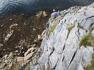 Curving Crack, Hard Severe (4b), Camas Malag, Skye