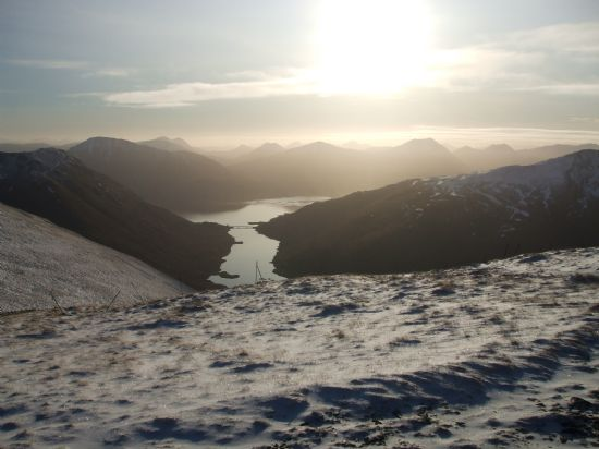view south over loch quoich from maol chinn-dearg, glen shiel