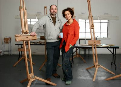 carla angus and bryan angus in the art holiday studio