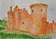 Caerlaverock Castle, Watercolour, K. Gallagher