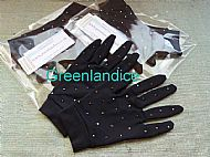 Black Competition Gloves with Jet Hematite Crystals