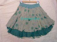 Green Flower Ice Dance Skirt