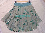 Green Flower Ice Dance Skirt Back View