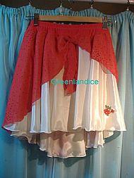 Red Ivory glitter chiffon Dance Skirt
