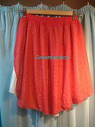 Red Ivory glitter chiffon Skirt Back View