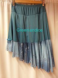 Teal blue flounce skirt back view
