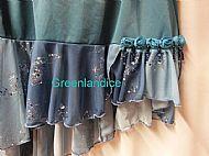 Teal blue flounce skirt close up