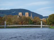 inverness cathedral taken from the ness islands with river ness