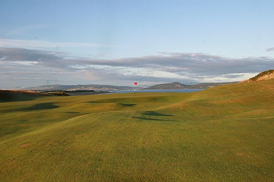 13th hole at castle stuart golf course near ardersier with moray firth