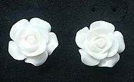 C2 WHITE ROSE STUD EARRINGS