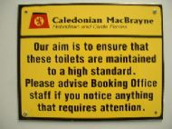Ferry terminal toilets sign