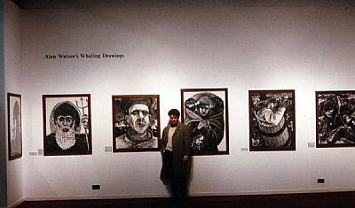 alan watson with a selection of whaling charcoal drawings at the barbican centre, london, (c)all images alan watson b.1957 all rights reserved