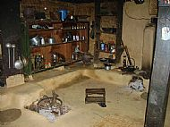 The interior of a village house