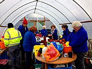 Washing pots for re-use at Forest View polytunnel -- 16 February 2016.  Photo by Julie Lomax.