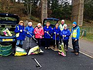 Litter picking at Mineralwell Park near the viaduct -- 10 April 2018. Photo by Julie Lomax.