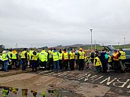 The briefing before a public beach litter pick organised by Horizon group -- 07 April 2019. Photo by Julie Lomax.