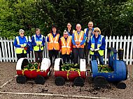 Station planting team -- 28 May 2019.  Photo by Julie Lomax.