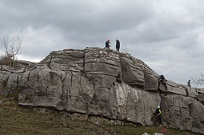 climbers on the south america buttress, hutton roof