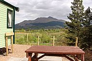 glen view taken from patio, looking across the table towards ben cruachan