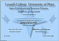 Lowell College Certificate