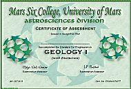 Mars Six College Certificate