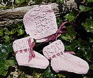 Pink Bonnet and Bootees