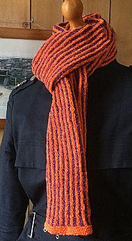 Chenille narrow striped scarf