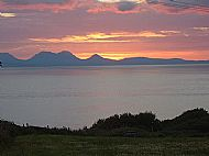Sunset over Jura from the site.