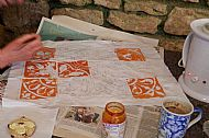 A maedieval tile in many sections was the inspiration for this piece