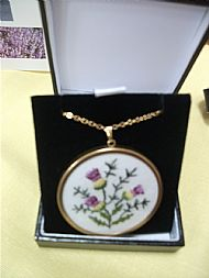 Scottish Thistle Embroidered Pendant