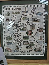 Scotland map with castles cross stitch picture