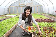 Michelle in a tunnel of salad