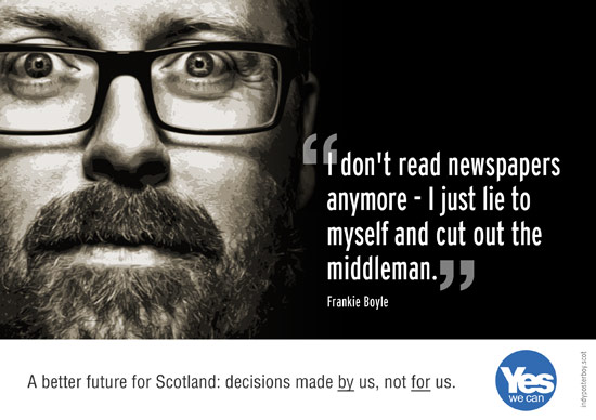 frankie boyle: i don't read newspapers anymore - i just lie to myself and cut out the middleman