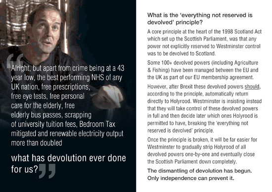 breaking the 'everything nor reserved is devolved principle is just the start of the dismantling of devolution
