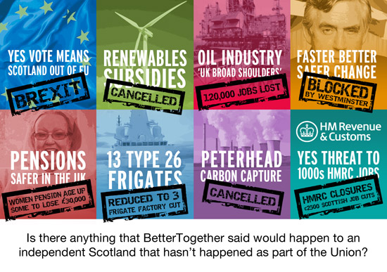 is there anything that bettertogether warned would happen to and independent scotland that hasn't happened anyway?