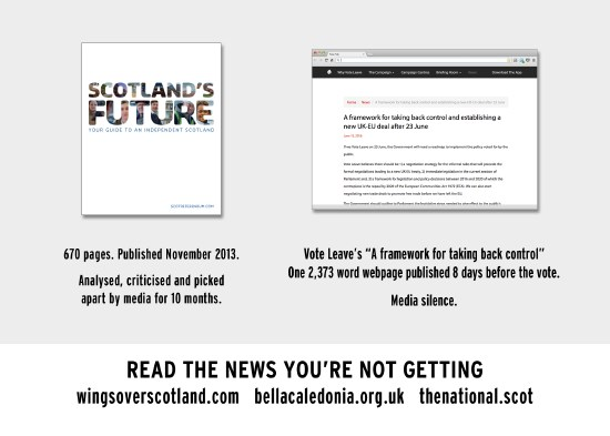 two-faced media: their reaction to the 670page white paper vs leave's web page